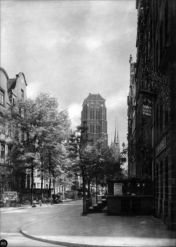 Gdańsk, Danzig - Jopengasse mit Marienkirche 1935