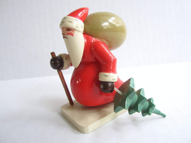 Vintage wood santa figurine expertic german republic