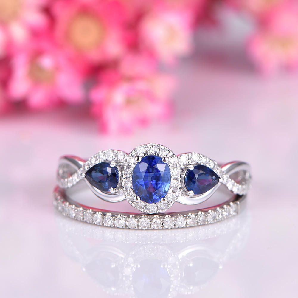 Sapphire ring set sapphire engagement ring three blue main stone ...