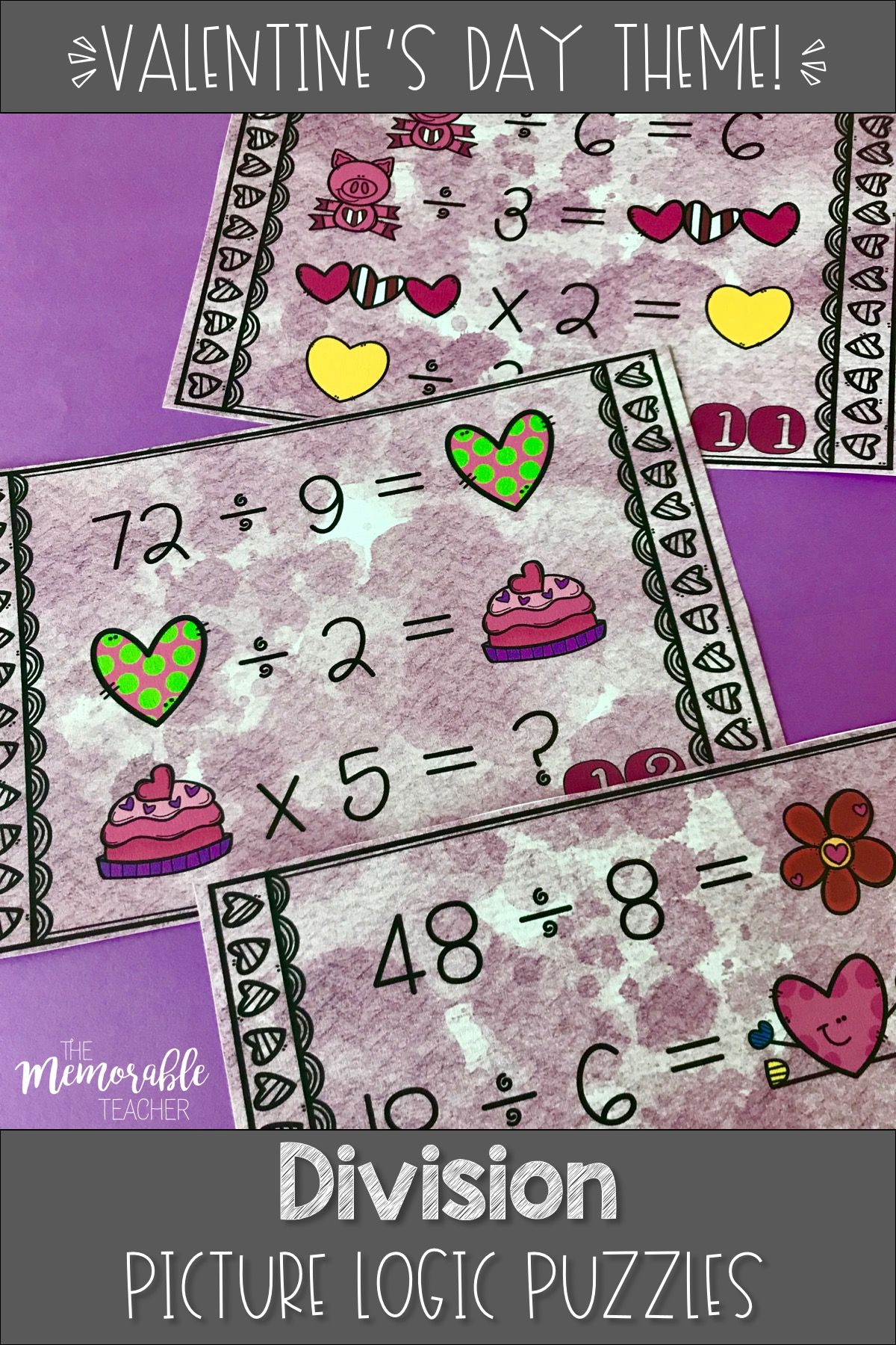 Division Logic Puzzles Valentine S Day Math Activities
