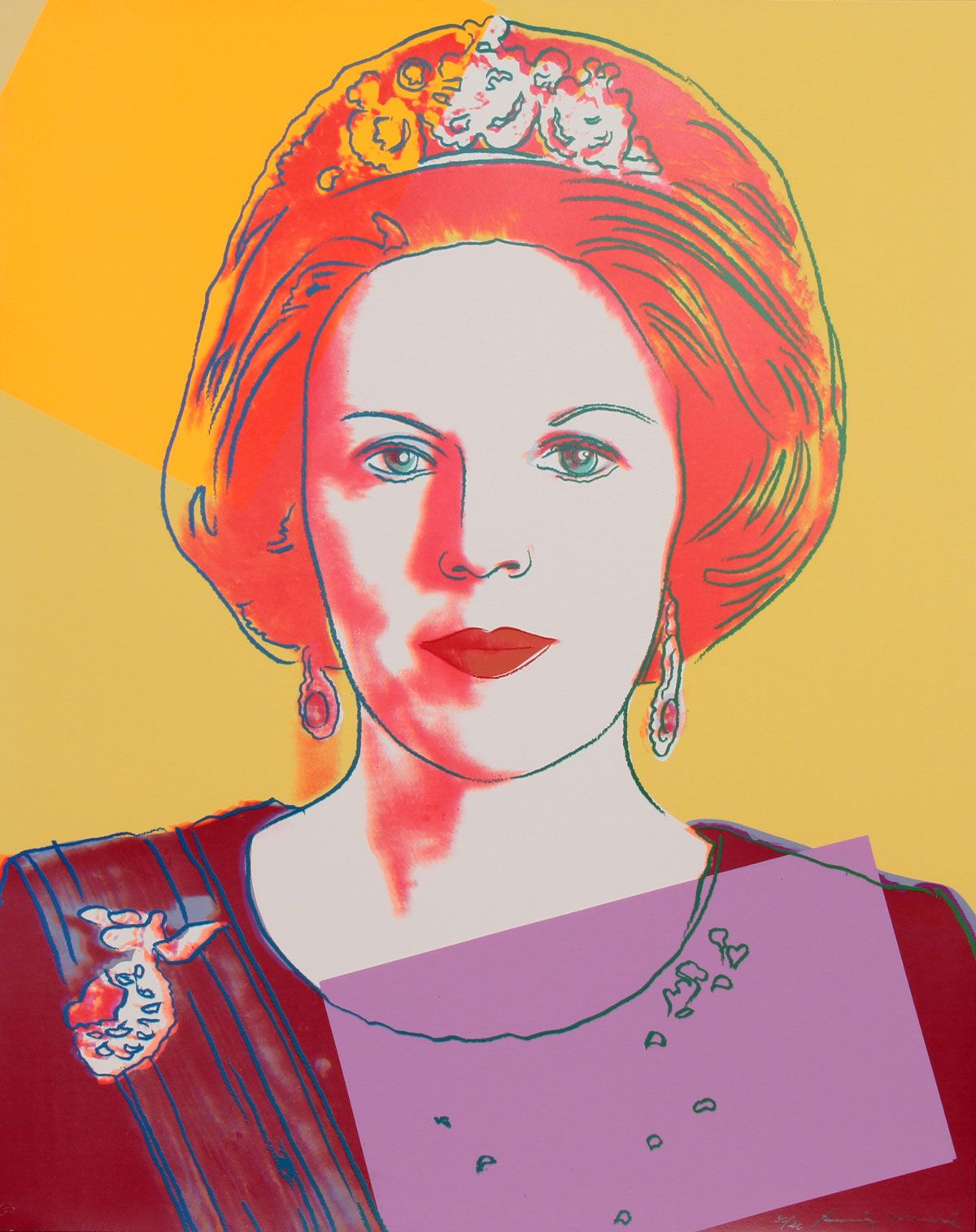 Queen Beatrix of the Netherlands 341 by Andy Warhol is part of the Reigning Queens series produced by Warhol in 1985. The portfolio consists of sixteen screenprints. Warhol depicts these four female monarchs in their own right, rather than as women who were married to a king.
