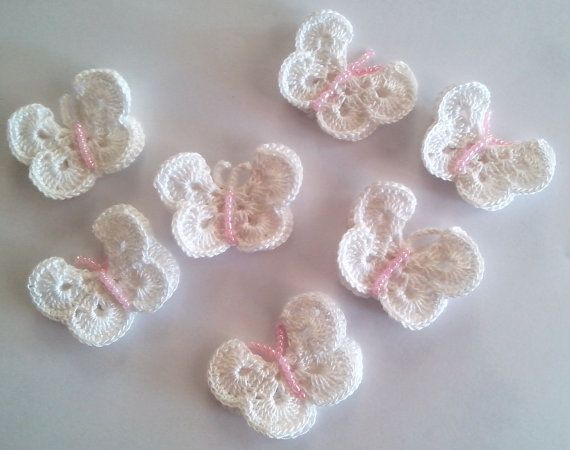 Crochet Butterfly With Beaded For Applications Set Of 7 Pieces