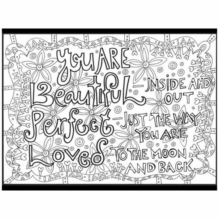 U R Beautiful Perfect Loved Coloring Page Download Adult