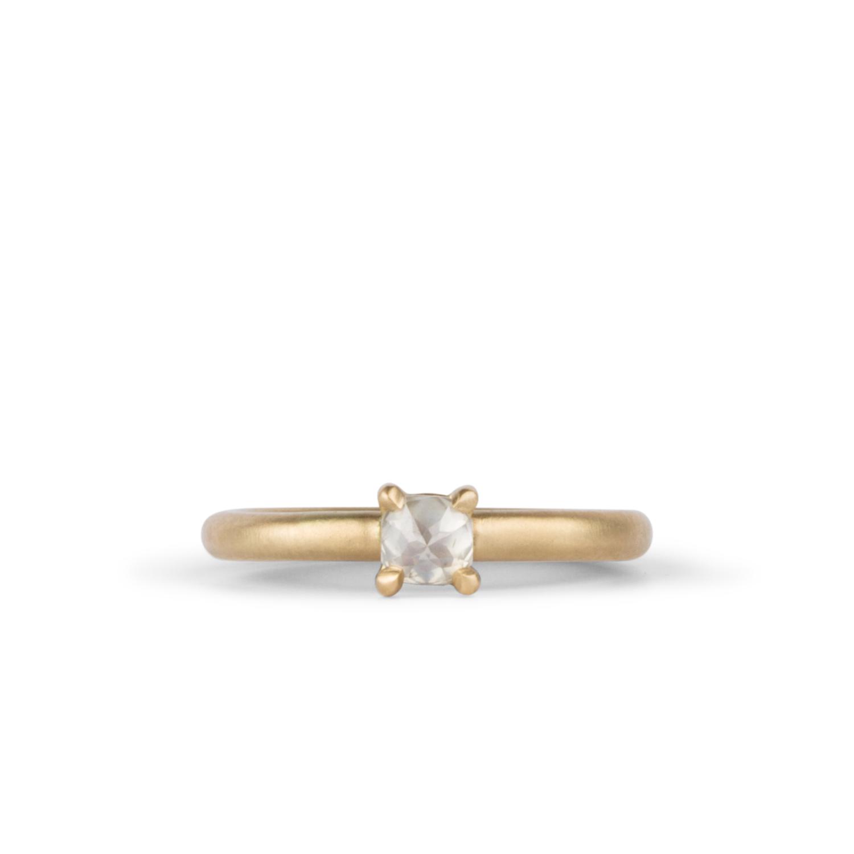 Florence Ring with Grey Cushion Diamond in 14k Yellow Gold | Corey Egan