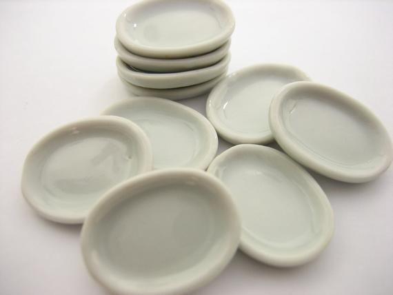 10 Earthenware Square Plate Tray Dollhouse Miniatures Ceramic Kitchenware