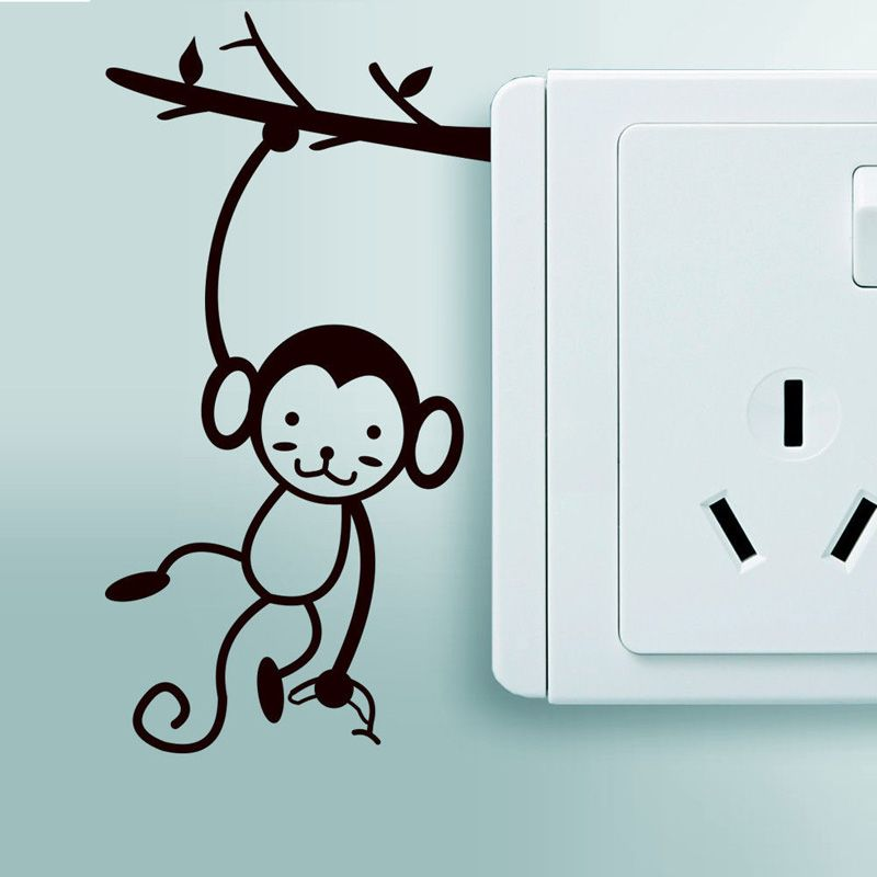 stylish monkey switch stickers funny decorative vinyl wall on wall stickers painting id=65217