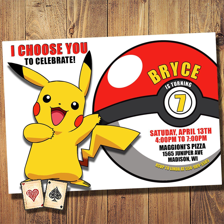 I Choose You Invitation Pokemon Invite Detective Pikachu Etsy In 2020 Pokemon Invitations Pokemon Birthday Pokemon Party