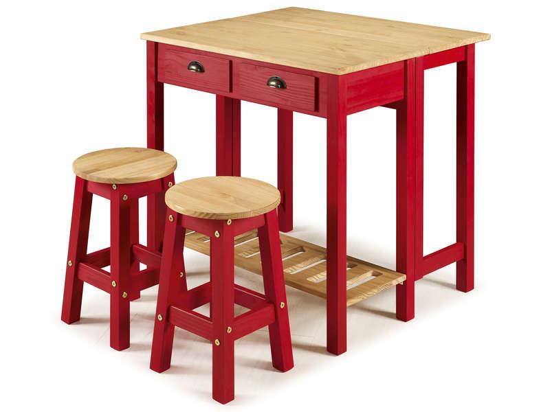 Ensemble Table Pliante 2 Tabourets En Bois Massif Sharona Coloris Rouge Vente De Ensemble Table Et Chaise Co Table Pliante Tabouret Bois Table Et Chaises