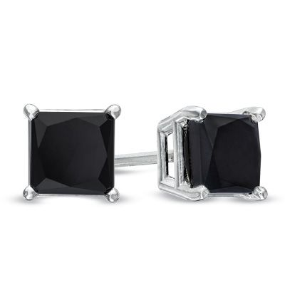 stud black earrings white halo carat style in gold diamond products