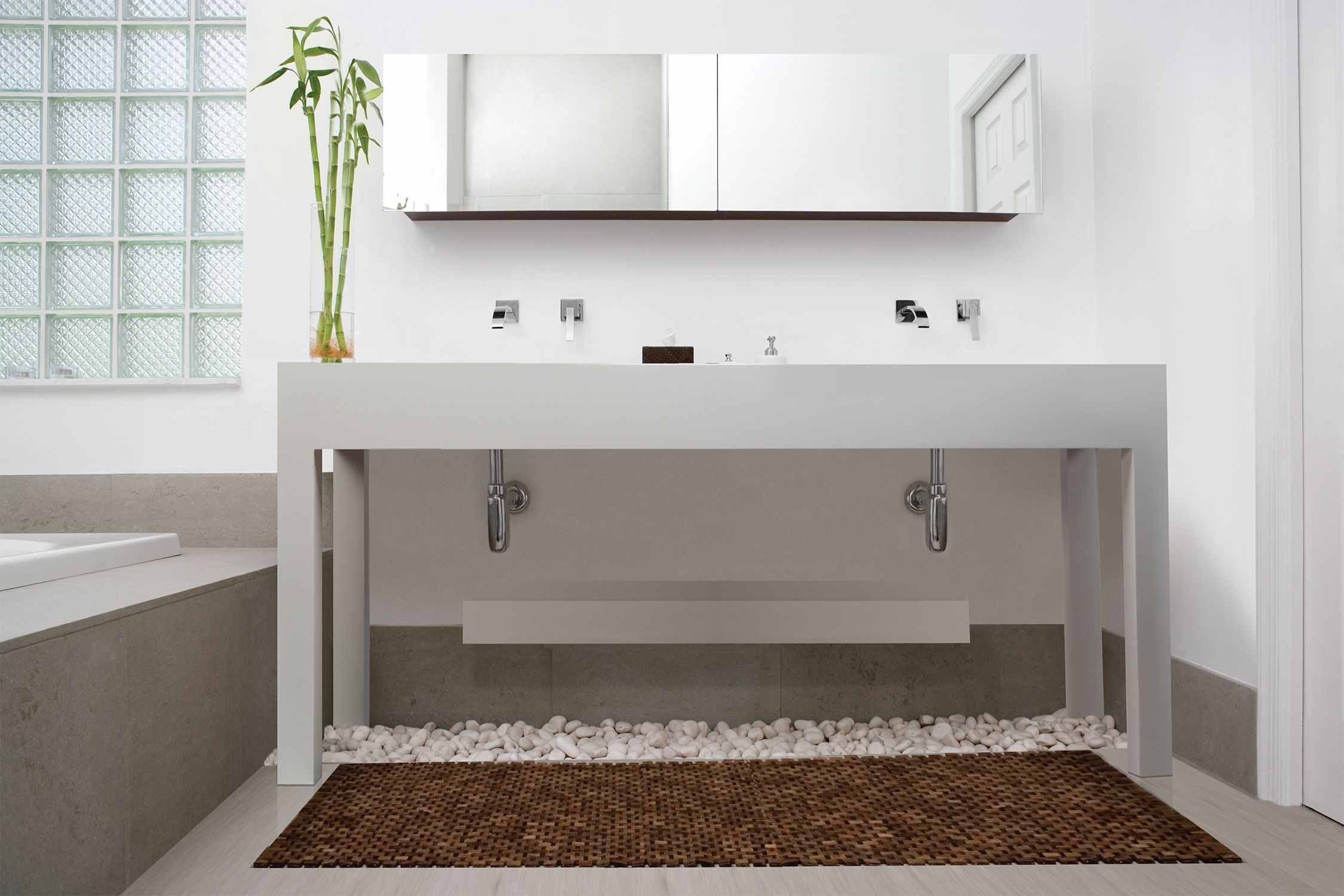 Mti Parsons Vanity Sink With Floating Shelf Love This Look Our Bathtubs In Dream Bathrooms