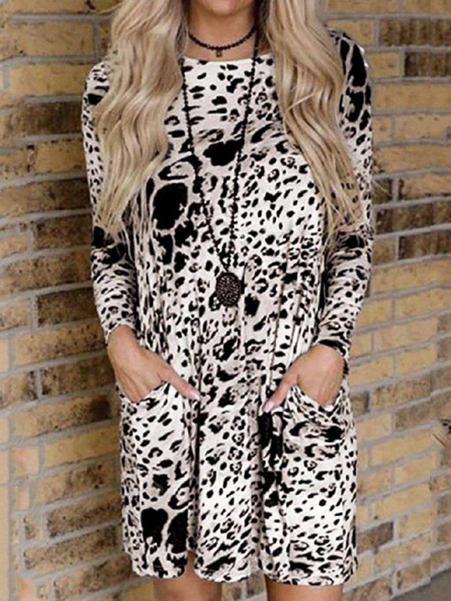Leopard Print Flower Dress S White In 2021 Pocket Dress Flower Print Dress Dresses [ 1200 x 900 Pixel ]