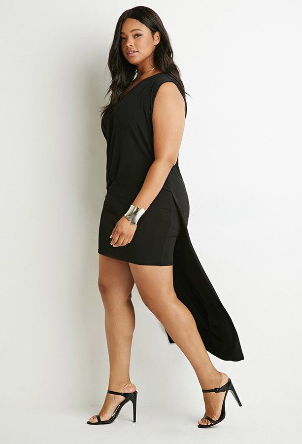 Plus Size Layered Cowl Neck Dress