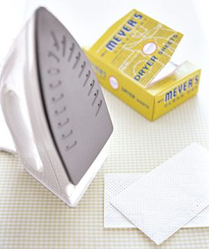 Dryer Sheet as Iron Cleaner-  Remove gunk from the soleplate of an iron. With the setting on low, rub the iron over the dryer sheet until the residue disappears, and you're left with a pristine press