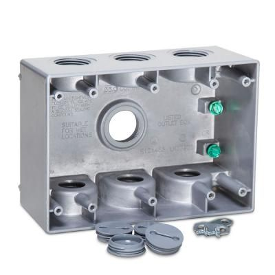 Bell 3 Gang Weatherproof Deep Box With Seven 3 4 In Outlets Gray Conduit Box Home Depot Electrical Supplies