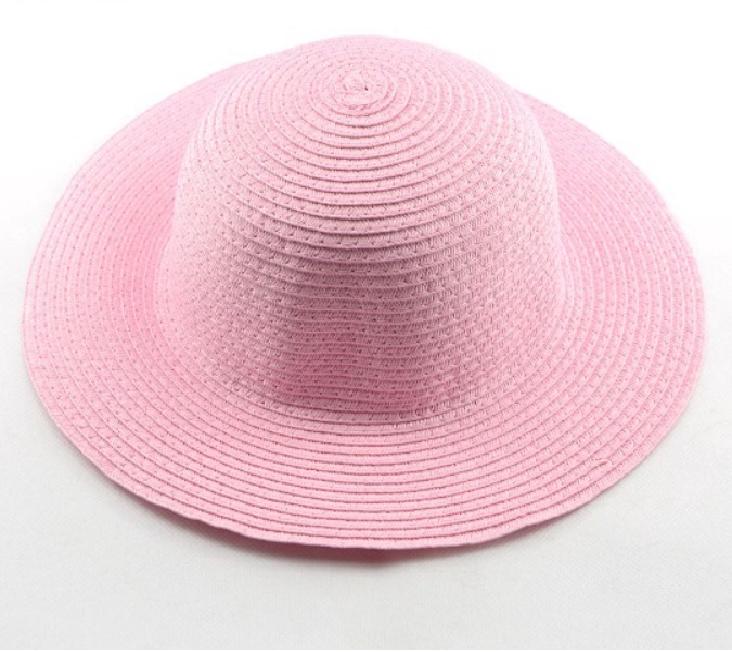 Straw Beach Hat (Baby pink/Black/Chocolate brown)