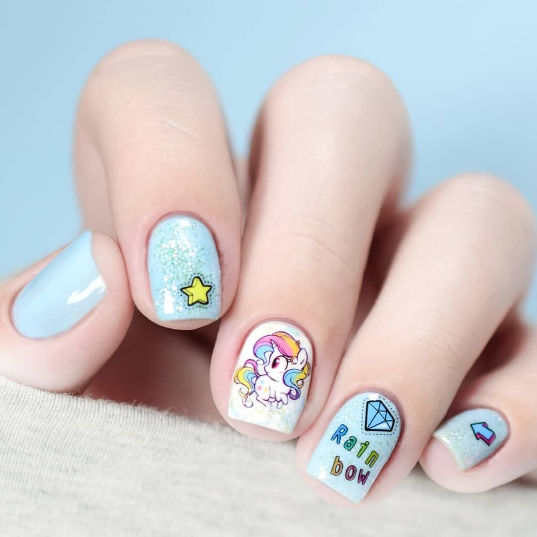 Lovely unicorn water decal nails, simple and attractive, shared by ...