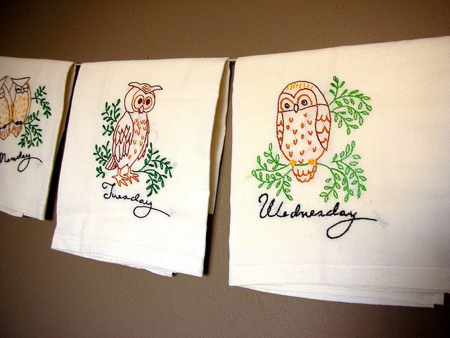 Emroidered Owl Tea towels Days of the Week by luvs2sew, via Flickr