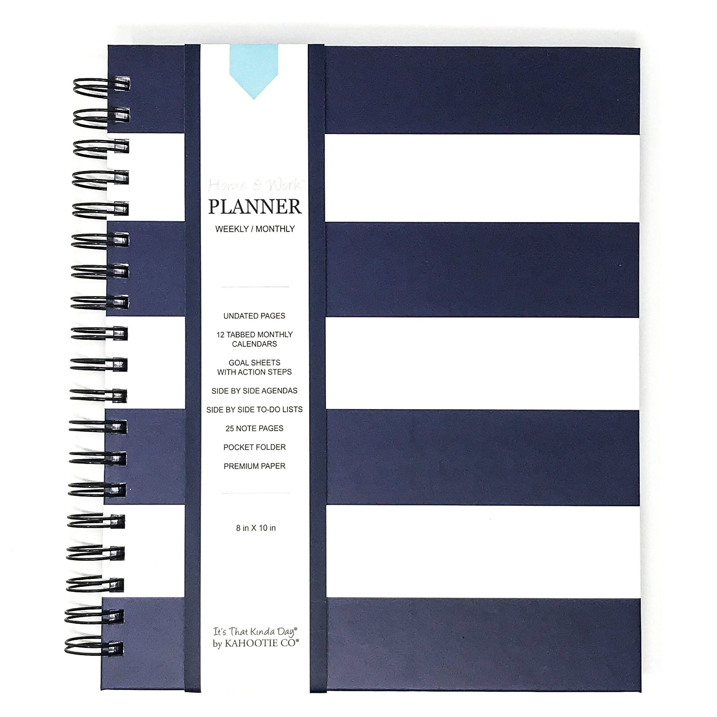 Home Work Weekly Hard Cover Planner 8x10 Navy Stripe In 2020 Work Planner Homework Planner
