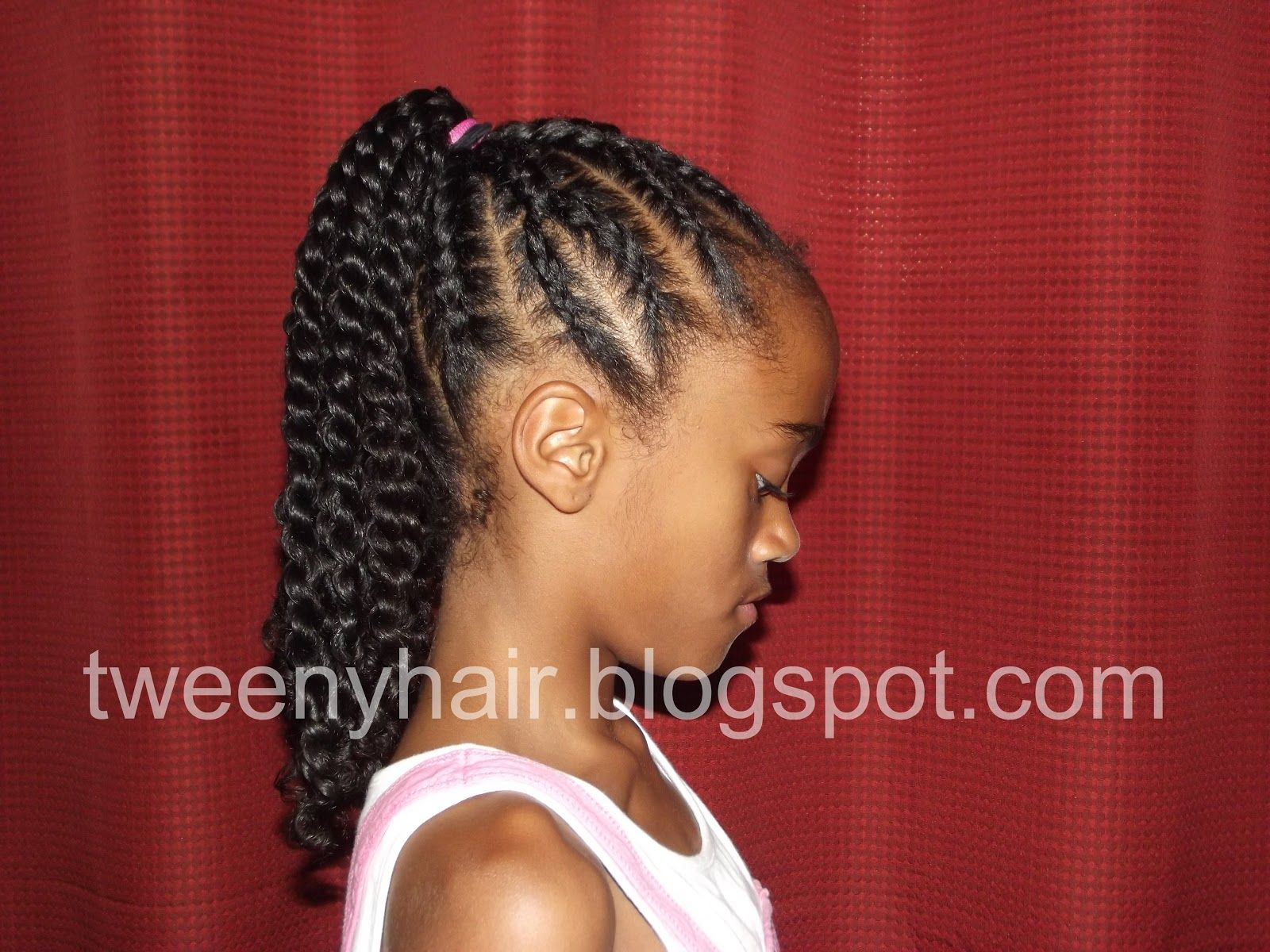 Y-Shaped Cornrows Into A Ponytail Of Twists