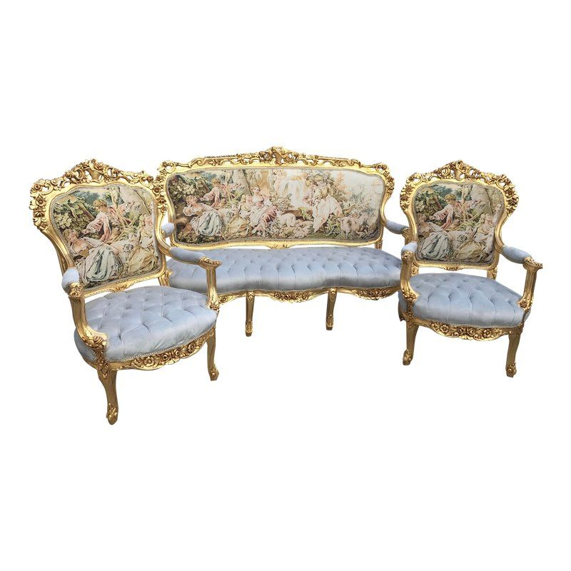 Best Italian Baroque Sofa Chairs Set Of 3 With Images Chair Set Shower Chair Amazon Sofa Set 640 x 480