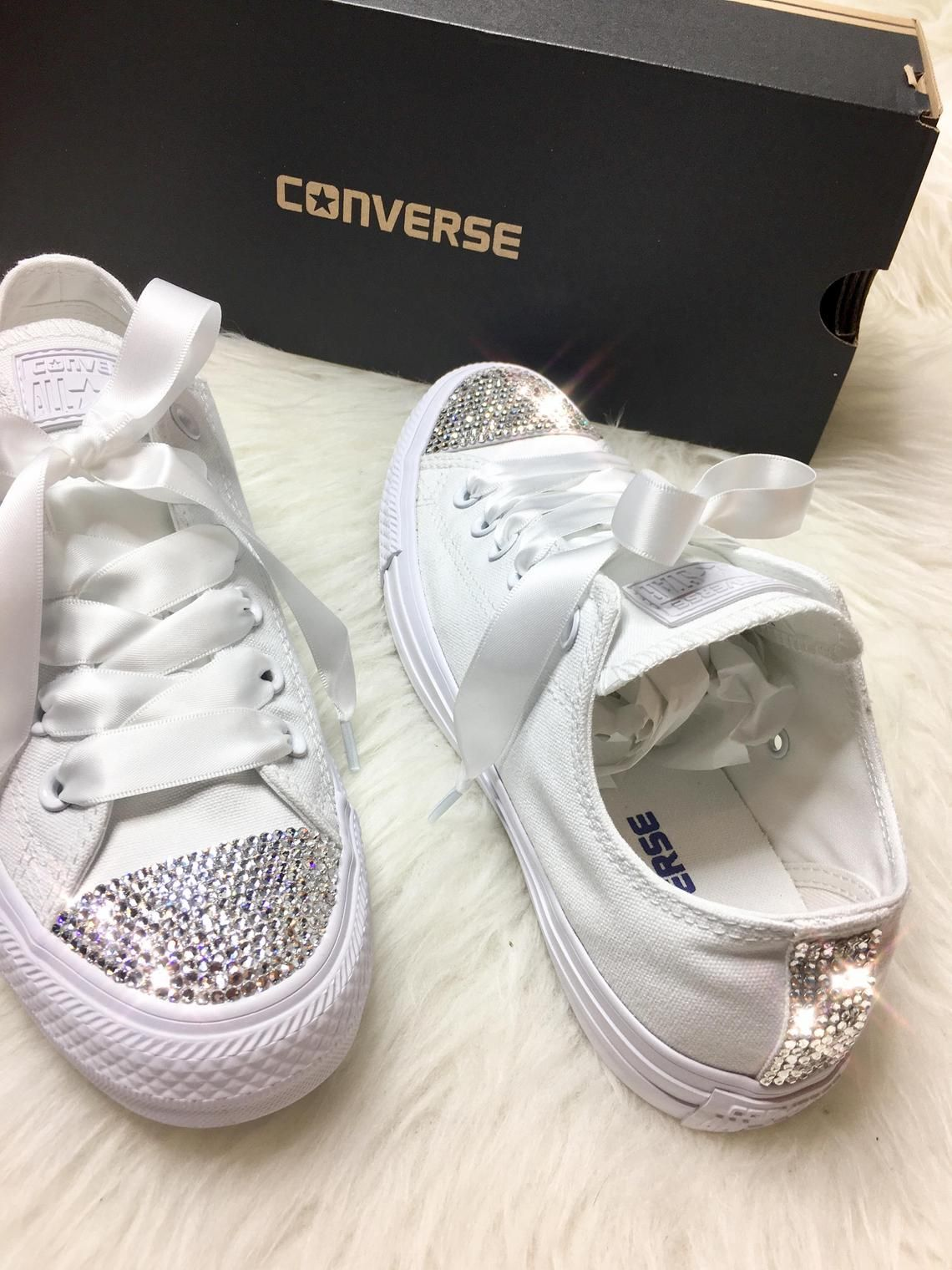 43a37f50be07 Swarovski Crystal CONVERSE Bling Women s Wedding crystal sneakers