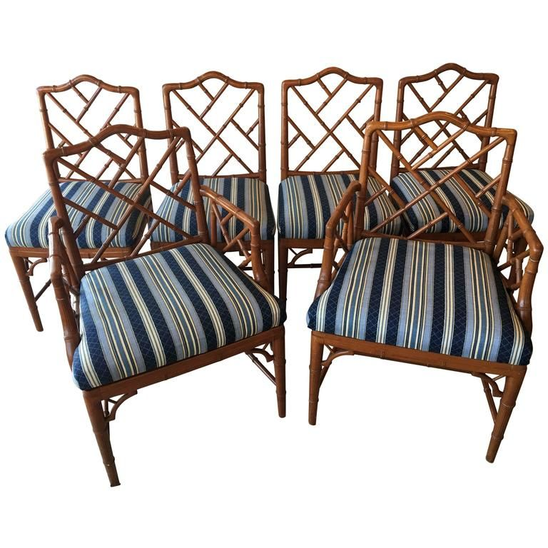 faux bamboo chinese chippendale set of six dining chairs chinoiserie - Set Of Six Dining Room Chairs