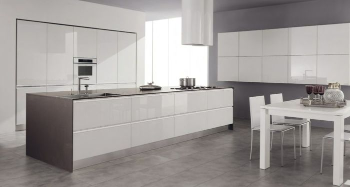Cuisine blanche sol gris interesting couleur mur cuisine for Carrelage casco