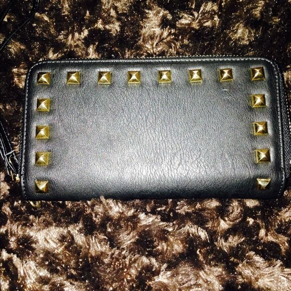 Brand New never used studded clutch/wallet! Brand New never used studded clutch/wallet! Perfect for a night out on the town!  Two zippers include two areas for cards/change & cash on the other (or phone)!!!  Off brand, purchased at a purse party! Bags Wallets