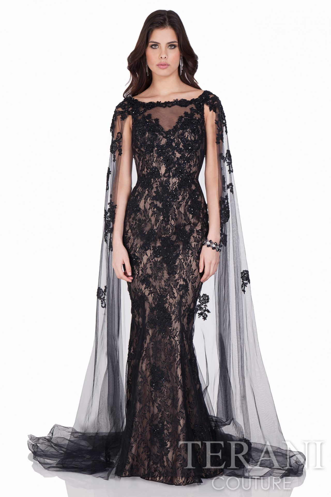 Stunning floor length evening dress with matching sheer cape. This ...