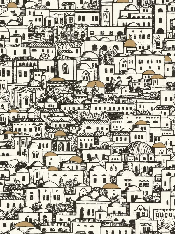 Mediterranean Building Print Wallpaper