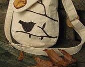 Birds and a Few More Berries shoulder bag with adjustable strap and zipper closure. $62,00, via Etsy.