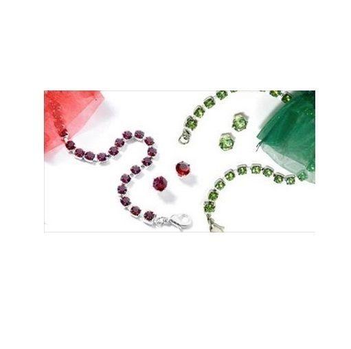 Swarovski Crystal Holiday Ruby Red & Green Peridot Tennis Bracelet/Earring Set  #Swarovski