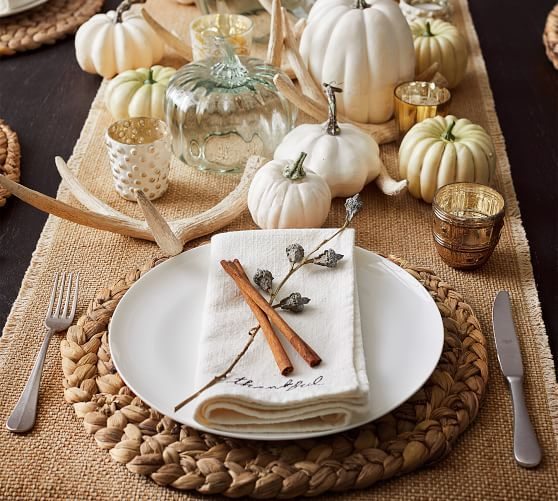 Thankful Embroidered Napkins Set Of 4 Faux Pumpkins