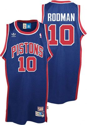 e5057e7f706 Detroit Pistons Dennis Rodman Jersey  adidas Blue Throwback Swingman ...