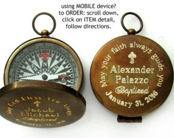 Baptism Gift Engraved Compass Baptism Gift Boy by EngravedGifts1