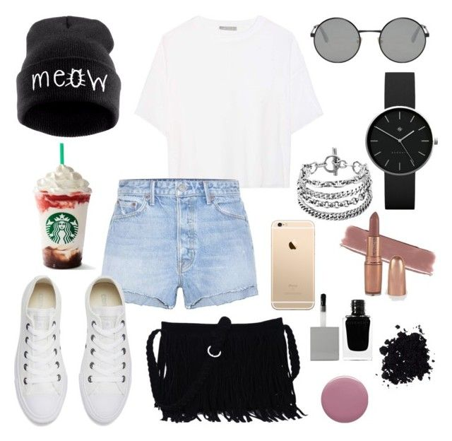 """""""Untitled #168"""" by kawaiipotato0 on Polyvore featuring Vince, GRLFRND, Yves Saint Laurent, Newgate, Converse, Deborah Lippmann and Givenchy"""