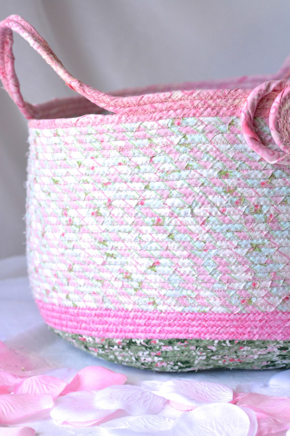 Pink Coiled Basket, Handmade Fabric Basket, Pretty Home Decor, Lovely Storage Organizer, Pink and Green Magazine Rack by WexfordTreasures on Etsy https://www.etsy.com/listing/243566531/pink-coiled-basket-handmade-fabric