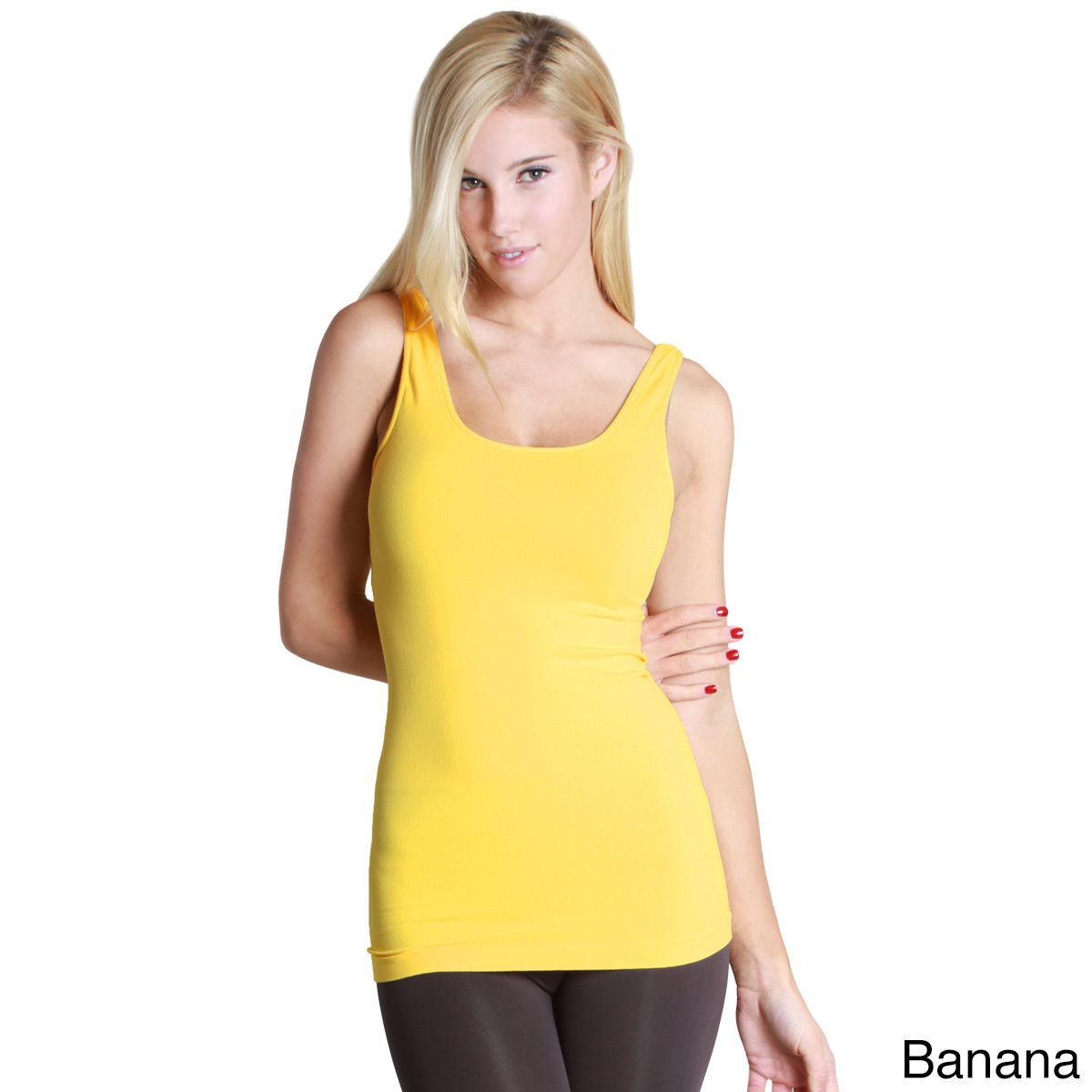 970b7b7873f01 Nikibiki Women s Seamless Assorted Pink or Yellow Jersey Tank Top (Banana -  One ...