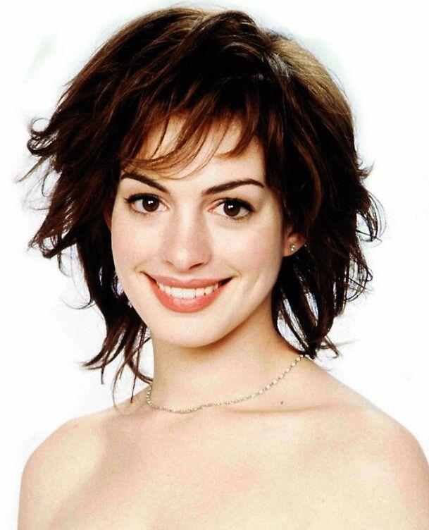 Anne Hathaway Medium Length Capless Curly Brown Human Wigs at nextwigs.com #Human hair wigs#
