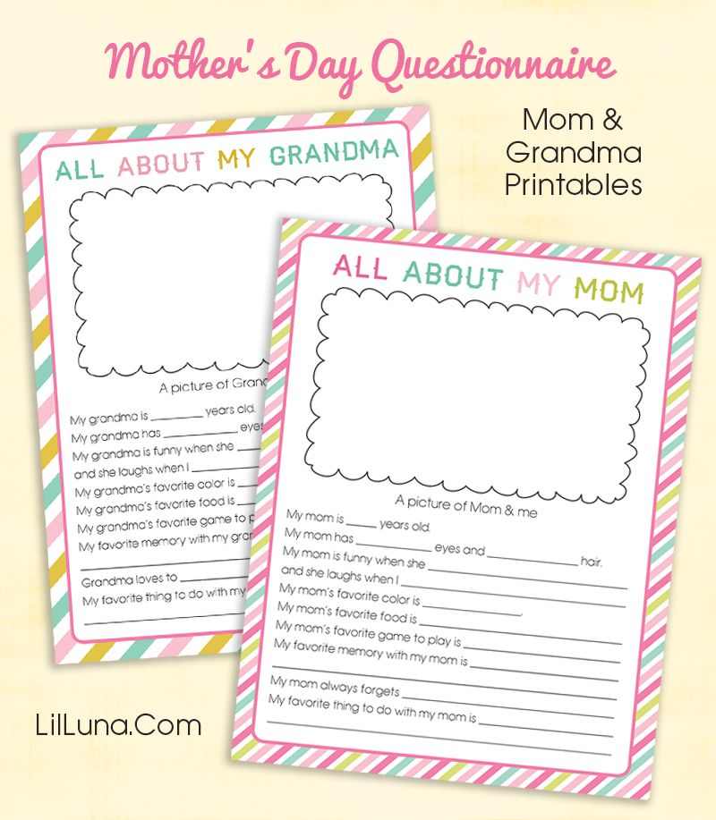 Cute printable mothers day questionnaire Kids will love filling