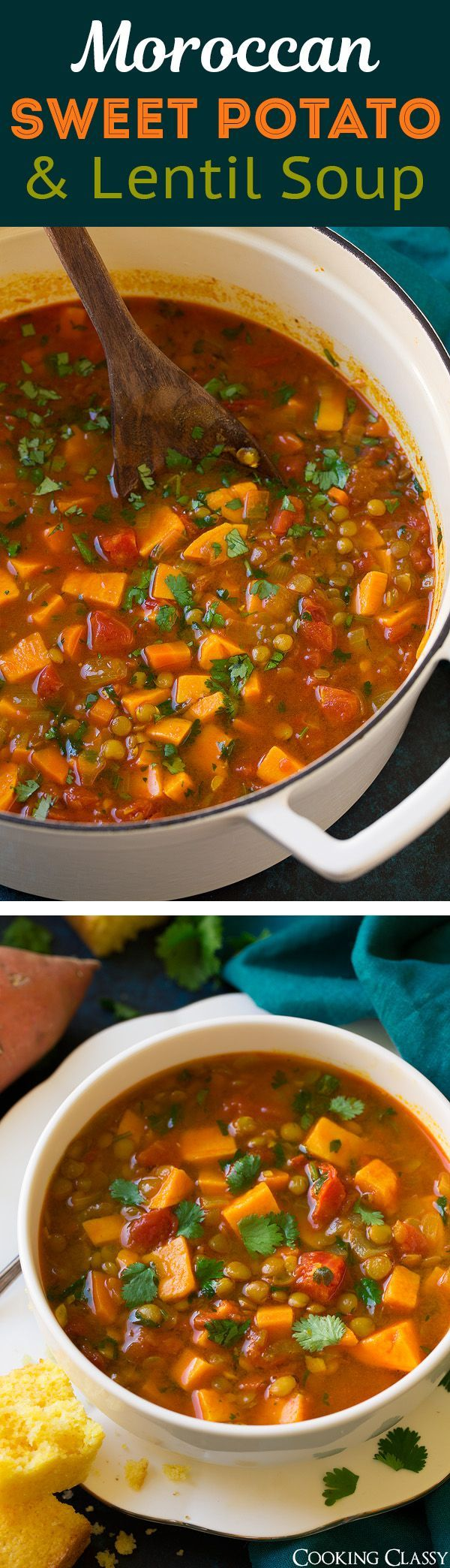 Sweet Potato and Lentil Soup - Seriously flavorful and totally delicious ! The perfect way to use up sweet potatoes.