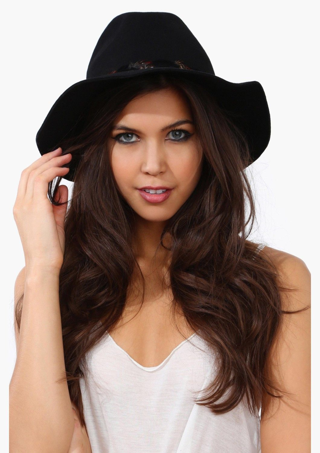 Cute Black Boho Chic Wide Brim Hat with Feather Detailing All Around ... 2a4fd686072