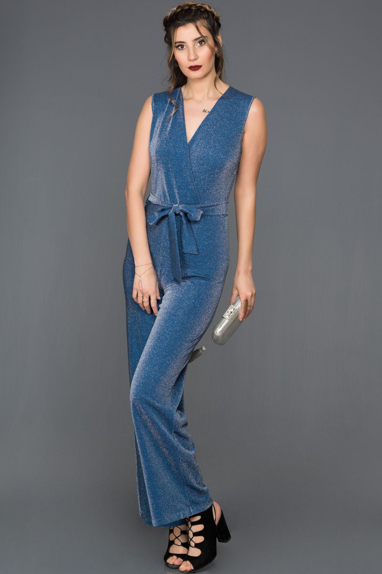 6f558614ed794 V Yaka Simli Tulum AR37079 | LADY İN BLUE | Tulum, Elbiseler, Elbise ...