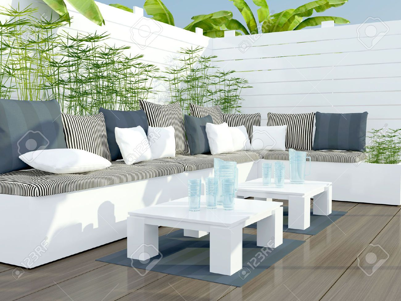 White Rendered Outdoor Seating   Google Search