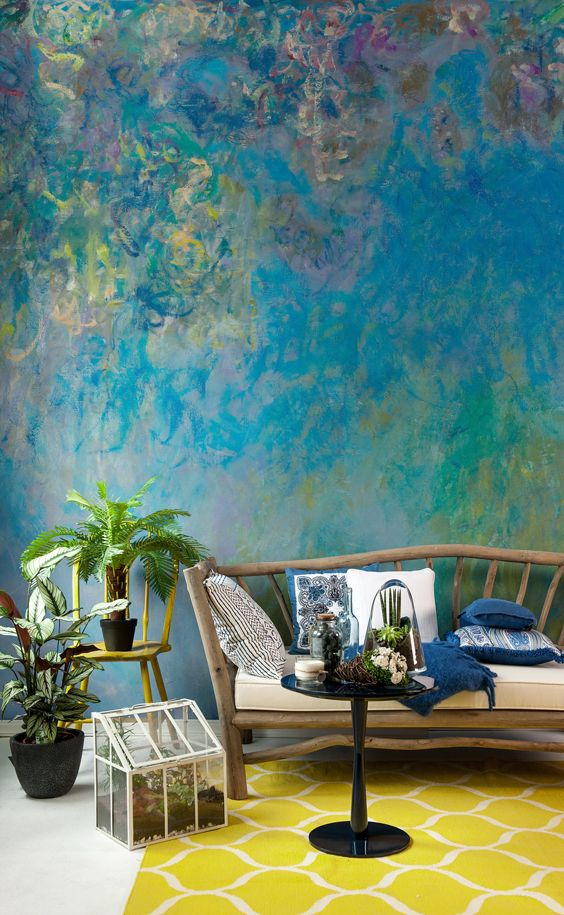 This art wallpaper depicts the flowering wisteria