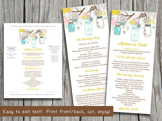 Mason Jar Wedding Program Microsoft Word Template  Spring Aqua