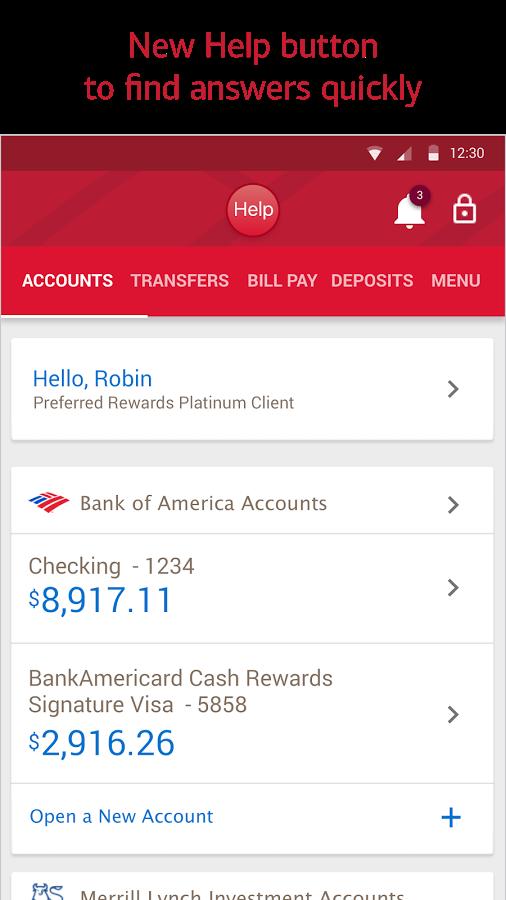 Bank of America screenshot Paying bills, Bank of