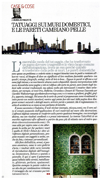 """Giardini Wallcoverings (www.giardiniwallcoverings.com) - """"Il venerdì di Repubblica"""" on newsstands now writes about us!  see it on www.vincenzodascanio.com"""