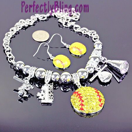 Rhinestone Softball Charm Bracelet And Matching Earrings Is A Great Bling Fashion Accessory For Moms Players Fans