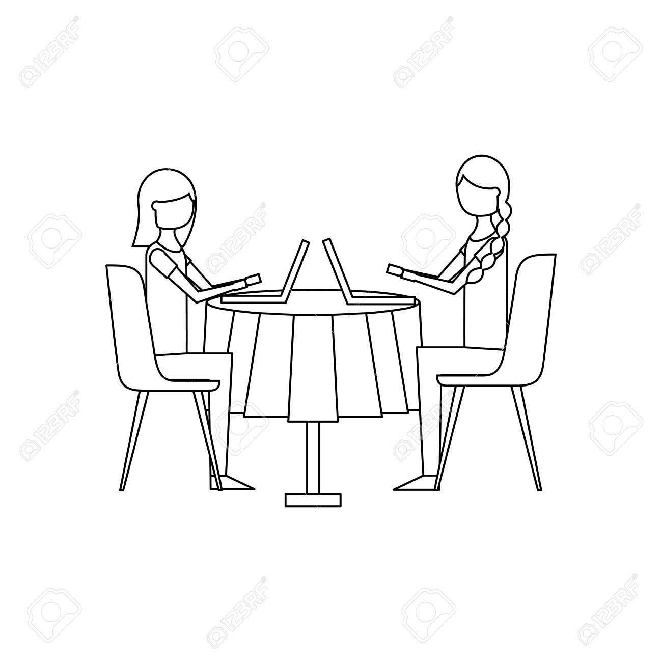girls people sitting at the table using laptop vector illustration outline design Illustration